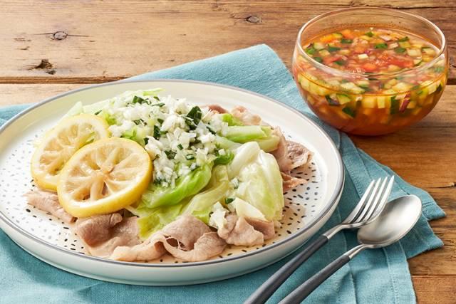 レモン香る!豚とキャベツの香味だれ+3種類のガスパチョ風冷製スープ