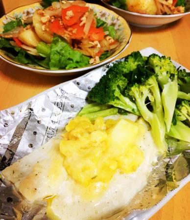 かれいの卵&チーズ焼き・ひき肉とポテトのバター醤油炒め