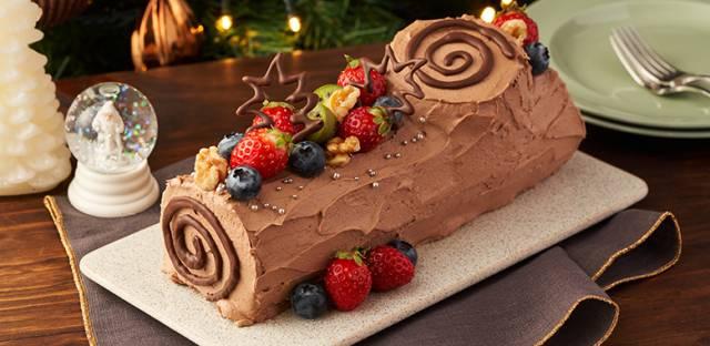 丸太型が可愛い♪チョコレートクリームのブッショドノエルも