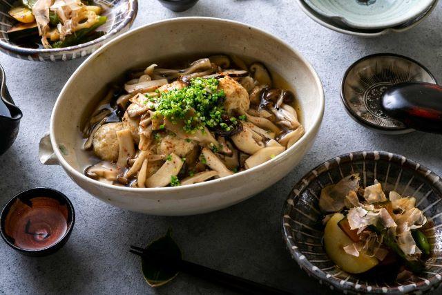 「幸せ三昧」監修 鶏団子 きのこの餡かけ&根菜の焼きびたし