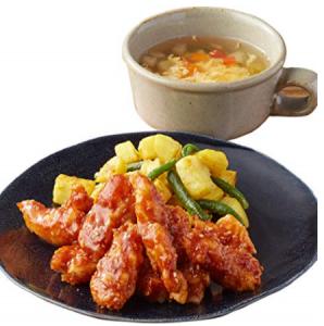 ジューシーチキンの甘口BBQソース&ふわふわたまごのコンソメスープ